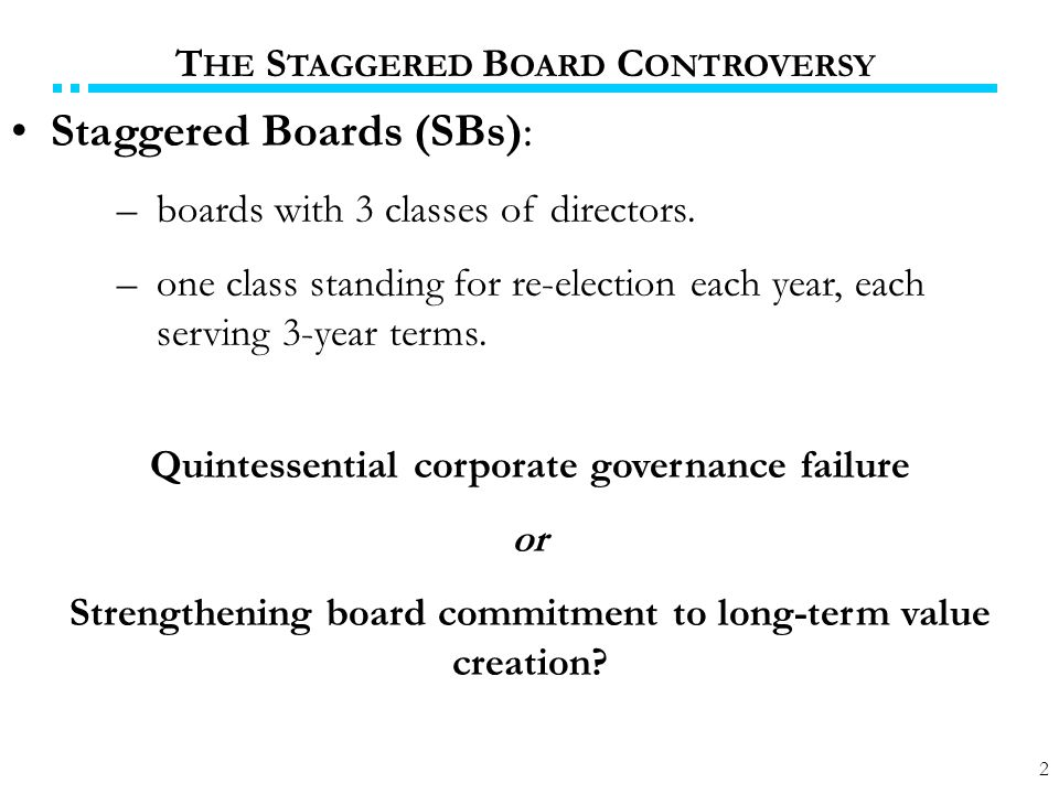 2 Staggered Boards (SBs): –boards with 3 classes of directors.