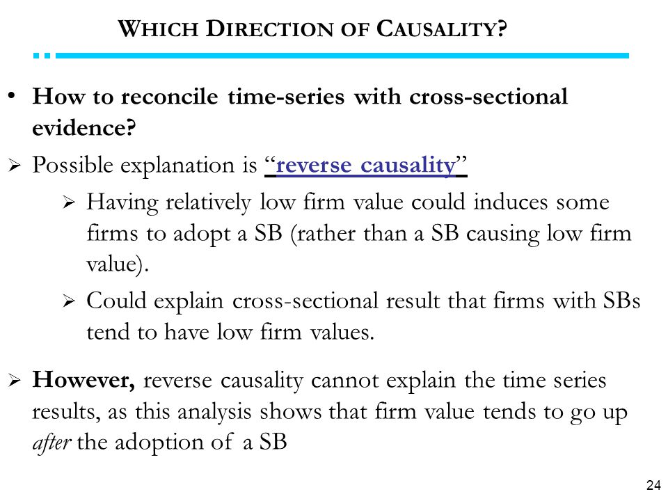24 How to reconcile time-series with cross-sectional evidence.
