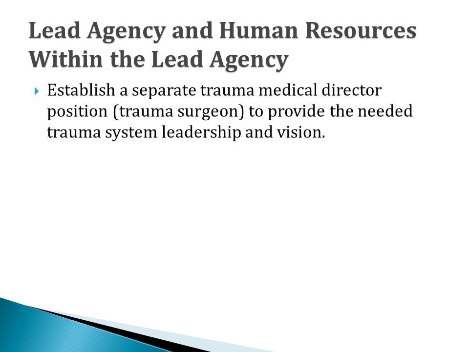 Lead Agency and Human Resources Within the Lead Agency  Establish a separate trauma medical director position (trauma surgeon) to provide the needed trauma system leadership and vision.