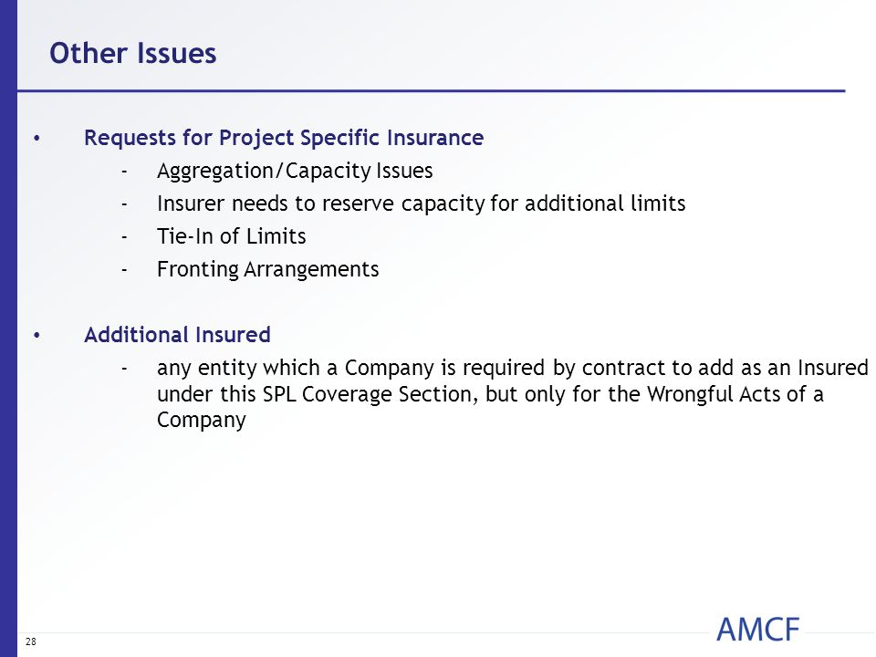 28 Other Issues Requests for Project Specific Insurance -Aggregation/Capacity Issues -Insurer needs to reserve capacity for additional limits -Tie-In