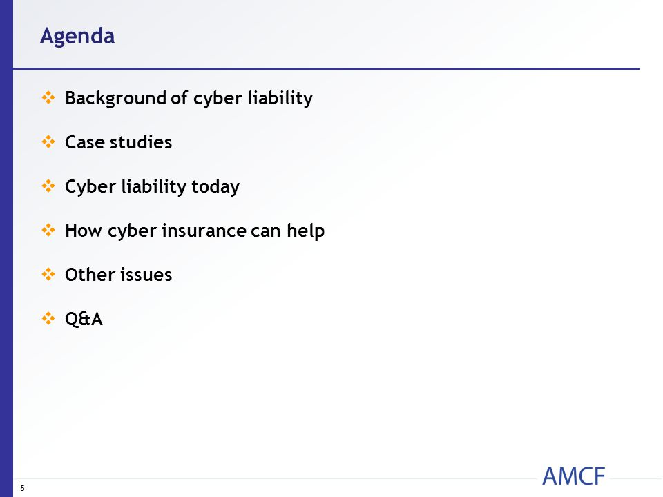 Agenda  Background of cyber liability  Case studies  Cyber liability today  How cyber insurance can help  Other issues  Q&A 5