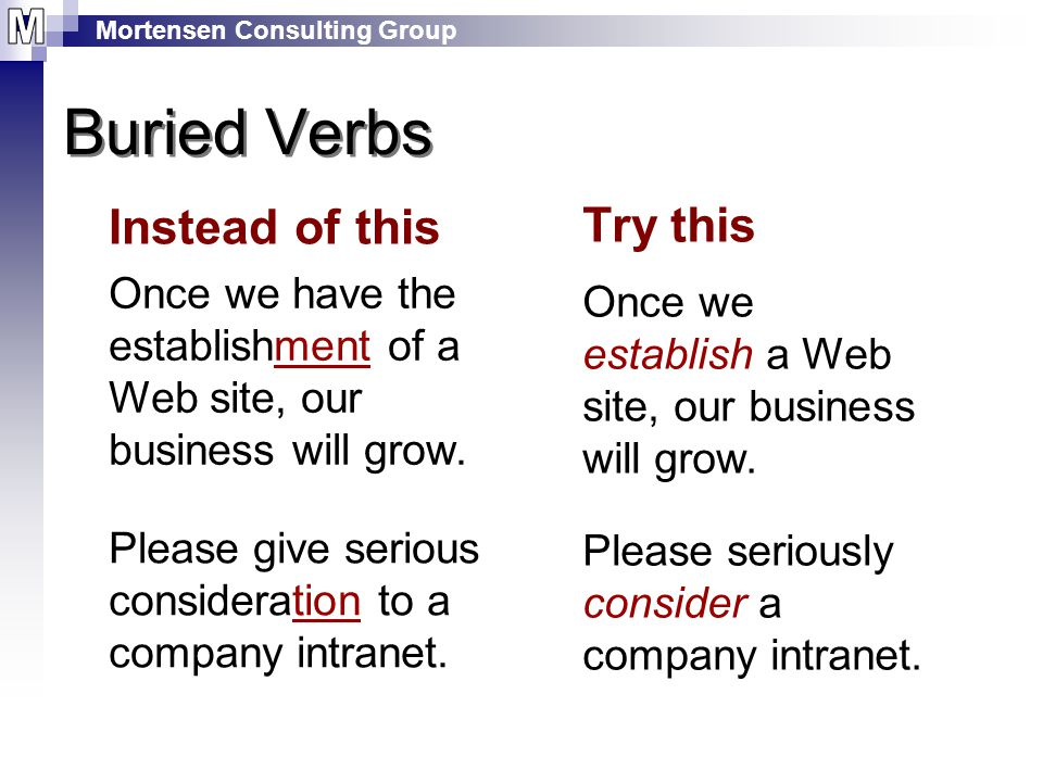 Mortensen Consulting Group Instead of this Once we have the establishment of a Web site, our business will grow.