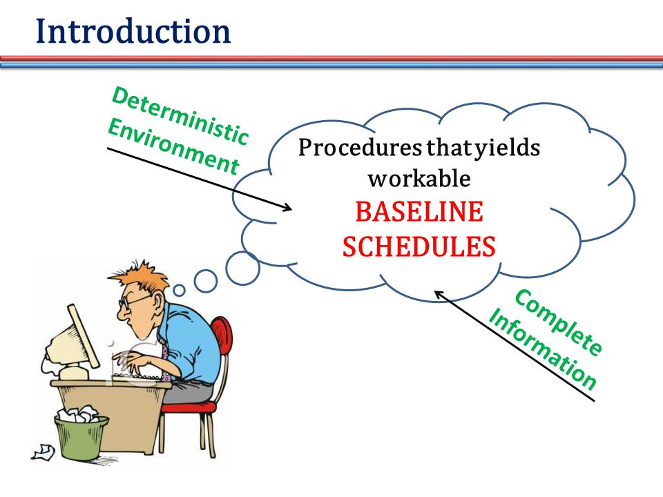 Introduction Procedures that yields workable BASELINE SCHEDULES Deterministic Environment Complete Information