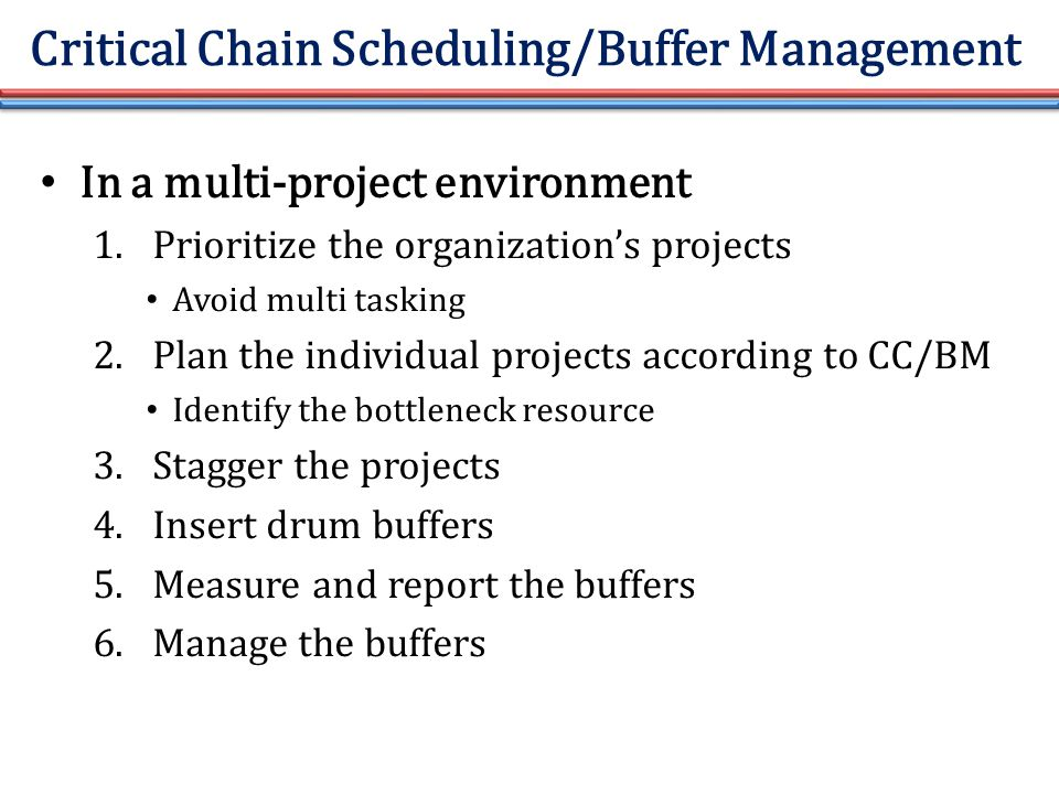 Critical Chain Scheduling/Buffer Management In a multi-project environment 1.Prioritize the organization's projects Avoid multi tasking 2.Plan the individual projects according to CC/BM Identify the bottleneck resource 3.Stagger the projects 4.Insert drum buffers 5.Measure and report the buffers 6.Manage the buffers