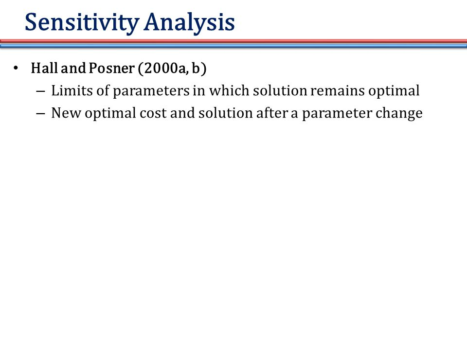 Sensitivity Analysis Hall and Posner (2000a, b) – Limits of parameters in which solution remains optimal – New optimal cost and solution after a parameter change