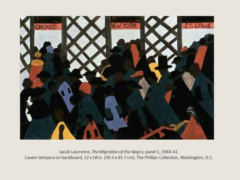 Jacob Lawrence, The Migration of the Negro, panel 1, 1940-41. Casein tempera on hardboard, 12 x 18 in. (30.5 x 45.7 cm). The Phillips Collection, Wash