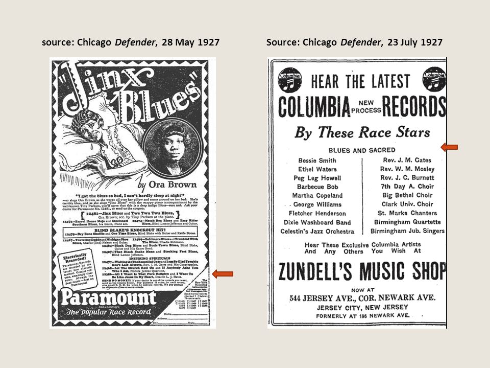 source: Chicago Defender, 28 May 1927Source: Chicago Defender, 23 July 1927