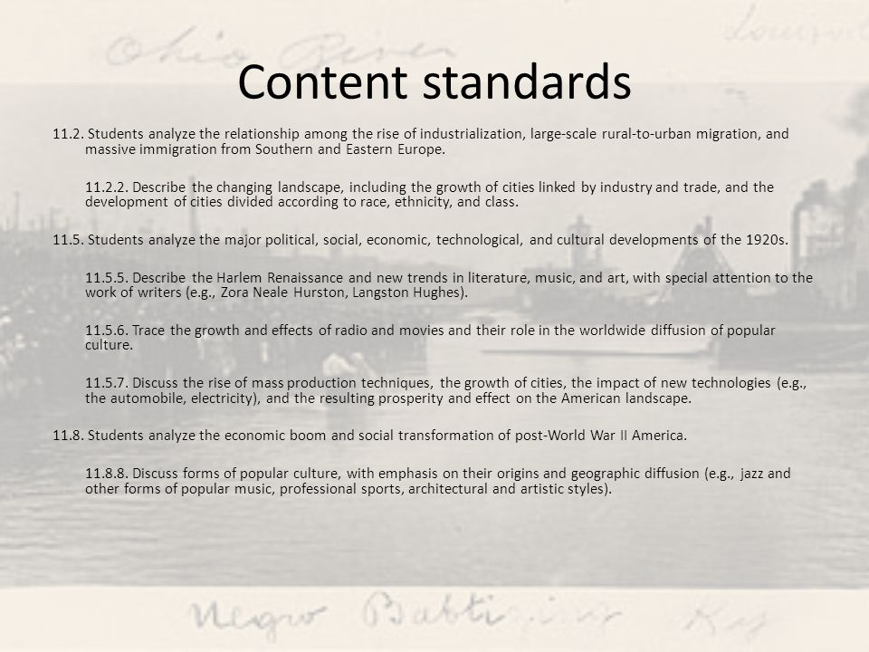 Content standards 11.2.