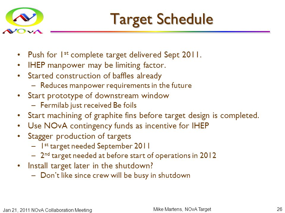 Target Schedule Push for 1 st complete target delivered Sept 2011. IHEP manpower may be limiting factor. Started construction of baffles already –Redu