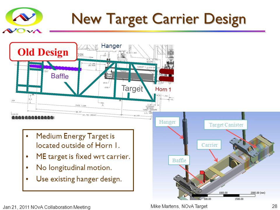 New Target Carrier Design Jan 21, 2011 NOvA Collaboration Meeting Mike Martens, NOvA Target28 Baffle Target Hor n 1 Carrier Baffle Target Horn 1 Hanger Target Canister Baffle Carrier Hanger Medium Energy Target is located outside of Horn 1.