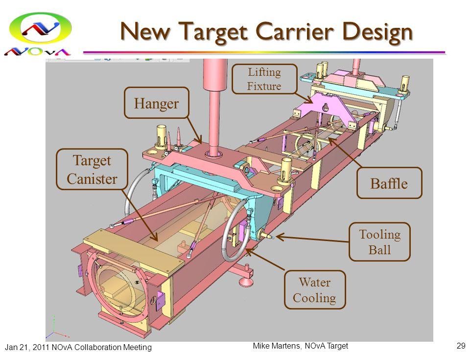 New Target Carrier Design Jan 21, 2011 NOvA Collaboration Meeting Mike Martens, NOvA Target29 Hanger Target Canister Baffle Lifting Fixture Water Cooling Tooling Ball
