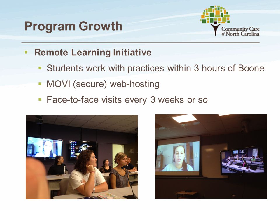 Program Growth  Remote Learning Initiative  Students work with practices within 3 hours of Boone  MOVI (secure) web-hosting  Face-to-face visits e