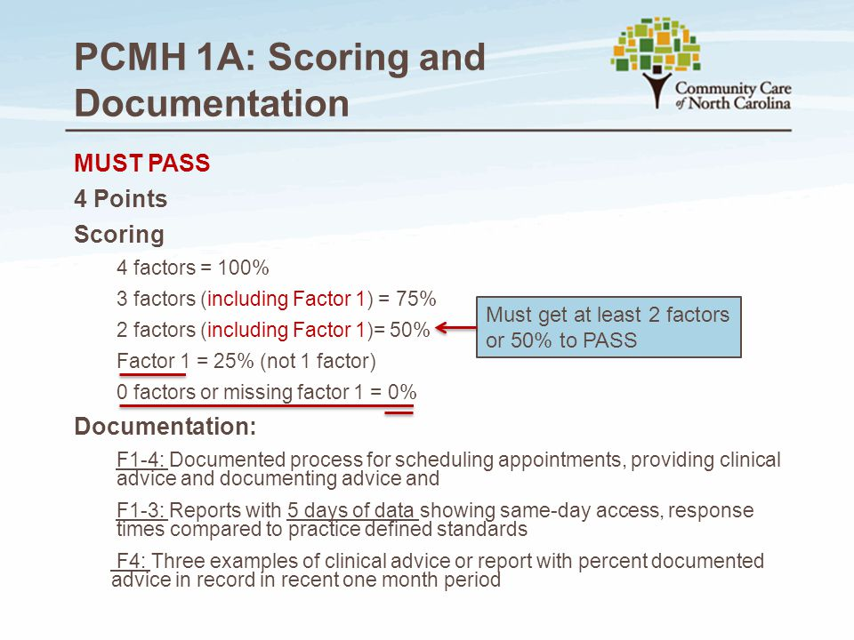 PCMH 1A: Scoring and Documentation MUST PASS 4 Points Scoring 4 factors = 100% 3 factors (including Factor 1) = 75% 2 factors (including Factor 1)= 50