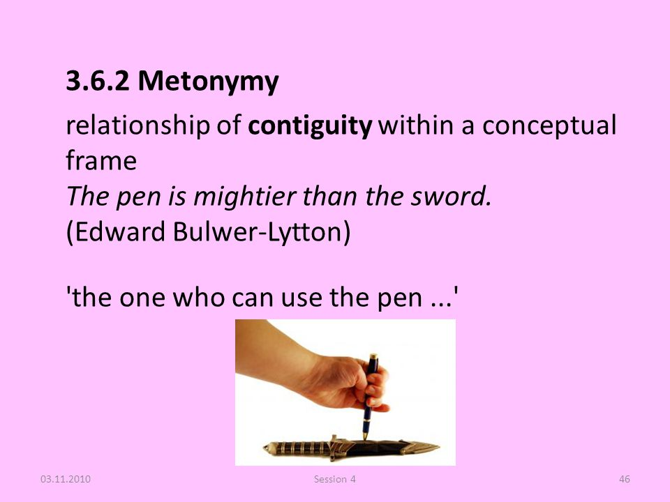 3.6.2 Metonymy relationship of contiguity within a conceptual frame The pen is mightier than the sword. (Edward Bulwer-Lytton) 'the one who can use th