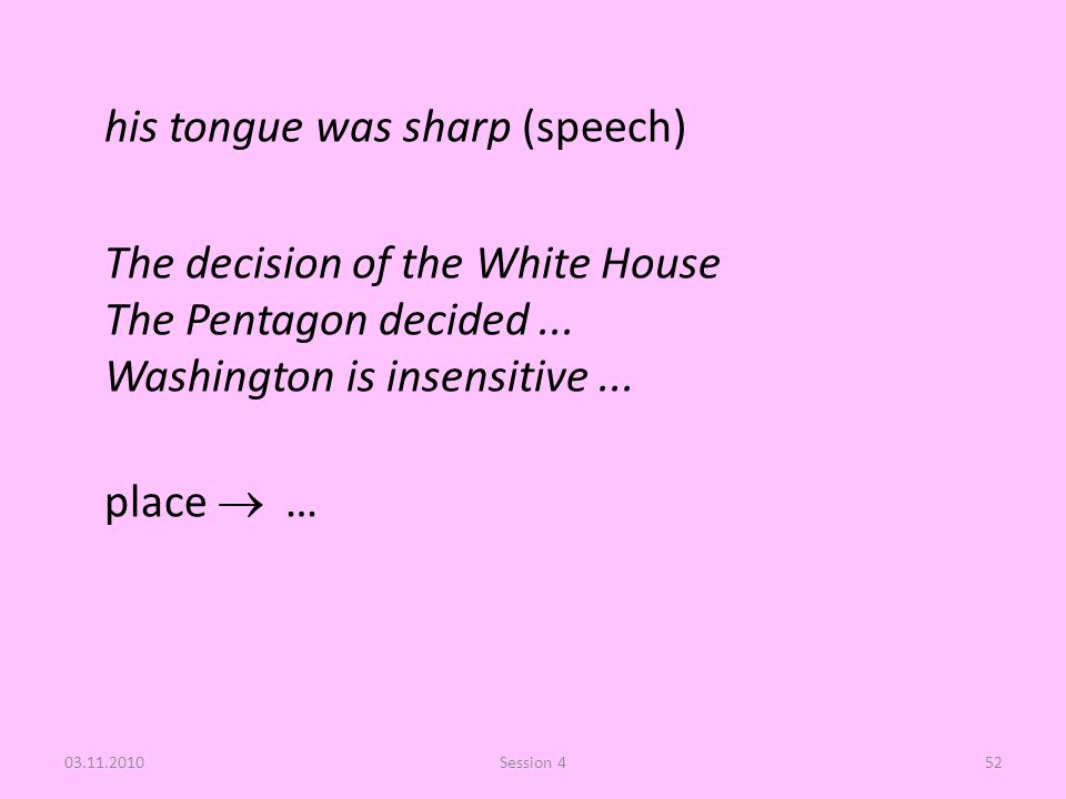 his tongue was sharp (speech) The decision of the White House The Pentagon decided... Washington is insensitive... place  … 03.11.2010Session 452
