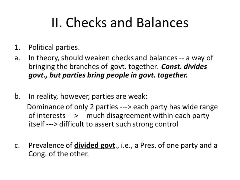 II. Checks and Balances 1.Political parties.