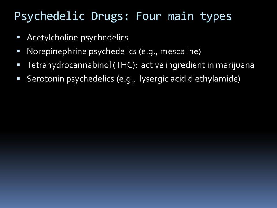 Psychedelic Drugs: Four main types  Acetylcholine psychedelics  Norepinephrine psychedelics (e.g., mescaline)  Tetrahydrocannabinol (THC): active i