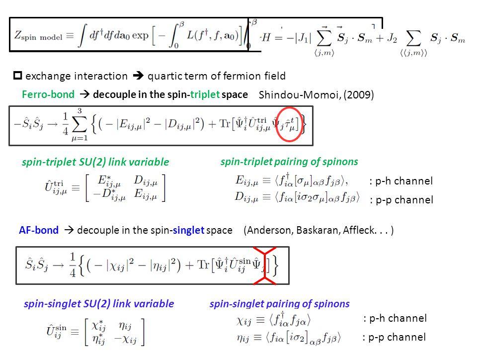 Ferro-bond  decouple in the spin-triplet space Shindou-Momoi, (2009) AF-bond  decouple in the spin-singlet space (Anderson, Baskaran, Affleck...