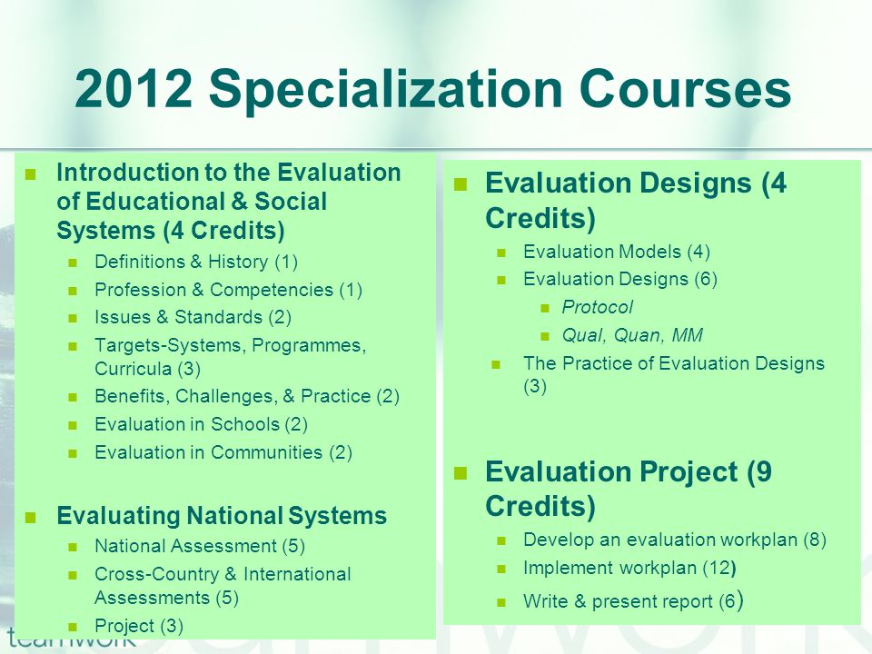 2012 Specialization Courses Introduction to the Evaluation of Educational & Social Systems (4 Credits) Definitions & History (1) Profession & Competencies (1) Issues & Standards (2) Targets-Systems, Programmes, Curricula (3) Benefits, Challenges, & Practice (2) Evaluation in Schools (2) Evaluation in Communities (2) Evaluating National Systems National Assessment (5) Cross-Country & International Assessments (5) Project (3) Evaluation Designs (4 Credits) Evaluation Models (4) Evaluation Designs (6) Protocol Qual, Quan, MM The Practice of Evaluation Designs (3) Evaluation Project (9 Credits) Develop an evaluation workplan (8) Implement workplan (12) Write & present report (6 )
