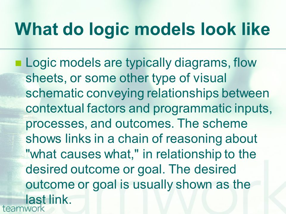 What do logic models look like Logic models are typically diagrams, flow sheets, or some other type of visual schematic conveying relationships between contextual factors and programmatic inputs, processes, and outcomes.