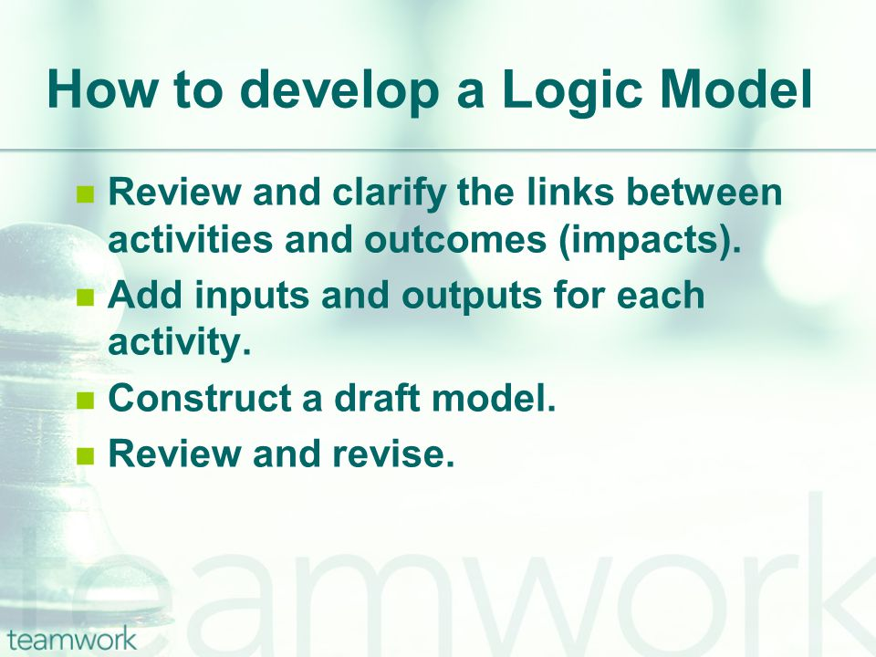 How to develop a Logic Model Review and clarify the links between activities and outcomes (impacts).