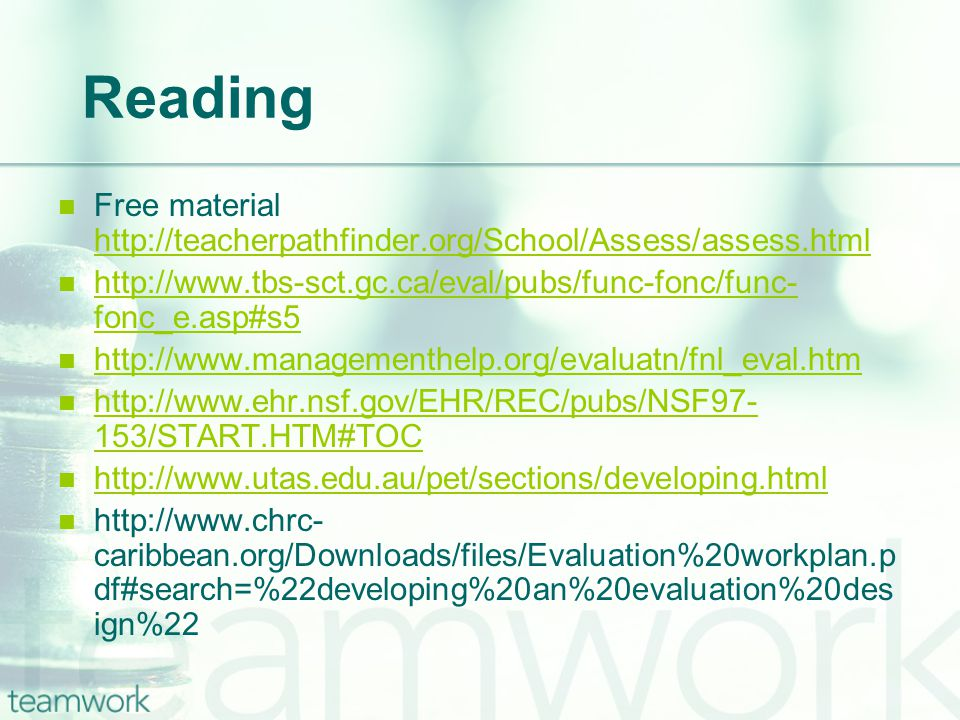 Selected Models & Approaches Goal-Free Evaluation.
