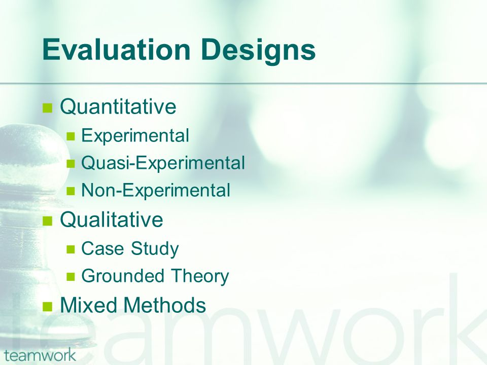 Evaluation Designs Quantitative Experimental Quasi-Experimental Non-Experimental Qualitative Case Study Grounded Theory Mixed Methods