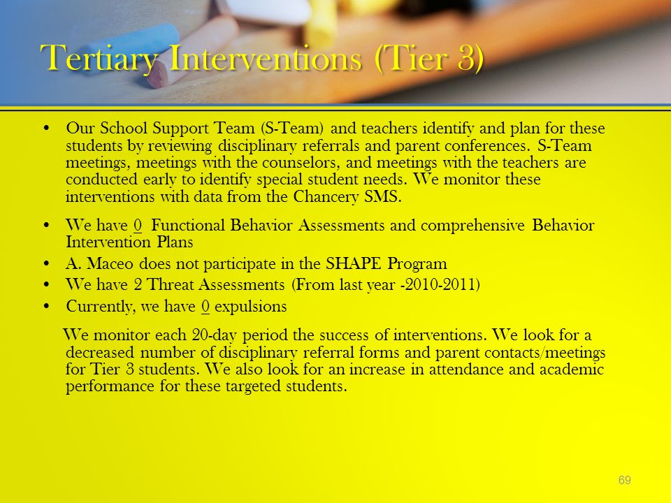 Our School Support Team (S-Team) and teachers identify and plan for these students by reviewing disciplinary referrals and parent conferences. S-Team