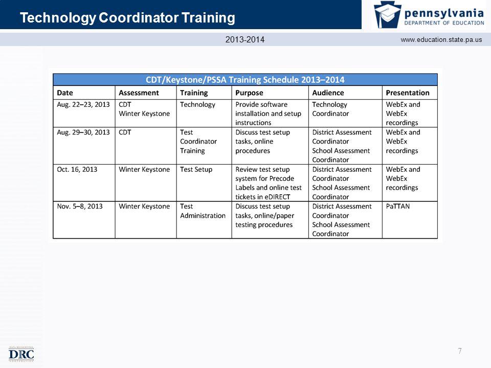 2013-2014 www.education.state.pa.us Technology Coordinator Training 7