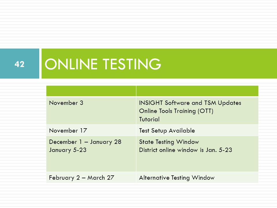 ONLINE TESTING 42 November 3INSIGHT Software and TSM Updates Online Tools Training (OTT) Tutorial November 17Test Setup Available December 1 – January