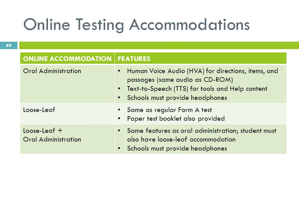 Online Testing Accommodations ONLINE ACCOMMODATIONFEATURES Oral Administration Human Voice Audio (HVA) for directions, items, and passages (same audio as CD-ROM) Text-to-Speech (TTS) for tools and Help content Schools must provide headphones Loose-Leaf Same as regular Form A test Paper test booklet also provided Loose-Leaf + Oral Administration Same features as oral administration; student must also have loose-leaf accommodation Schools must provide headphones 49