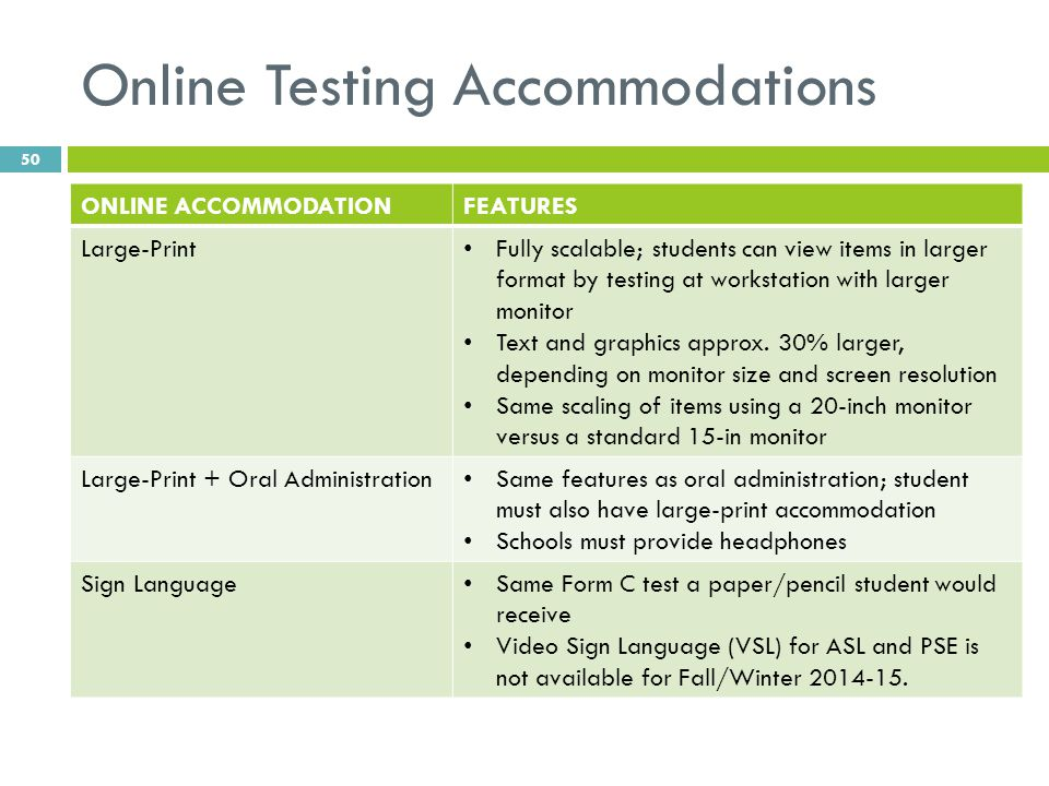 Online Testing Accommodations ONLINE ACCOMMODATIONFEATURES Large-Print Fully scalable; students can view items in larger format by testing at workstat