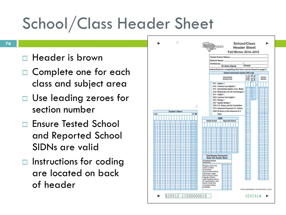School/Class Header Sheet  Header is brown  Complete one for each class and subject area  Use leading zeroes for section number  Ensure Tested Sch