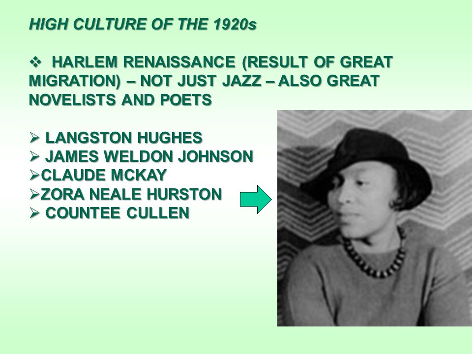 HIGH CULTURE OF THE 1920s  HARLEM RENAISSANCE (RESULT OF GREAT MIGRATION) – NOT JUST JAZZ – ALSO GREAT NOVELISTS AND POETS  LANGSTON HUGHES  JAMES WELDON JOHNSON  CLAUDE MCKAY  ZORA NEALE HURSTON  COUNTEE CULLEN