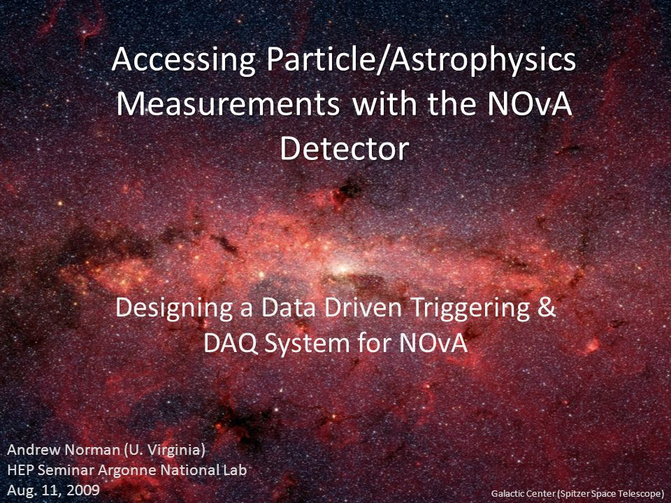 Accessing Particle/Astrophysics Measurements with the NOvA Detector Designing a Data Driven Triggering & DAQ System for NOvA Galactic Center (Spitzer
