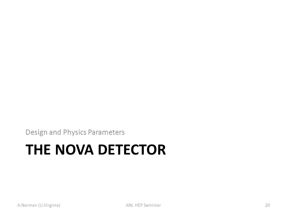 THE NOVA DETECTOR Design and Physics Parameters A.Norman (U.Virginia)20ANL HEP Seminiar