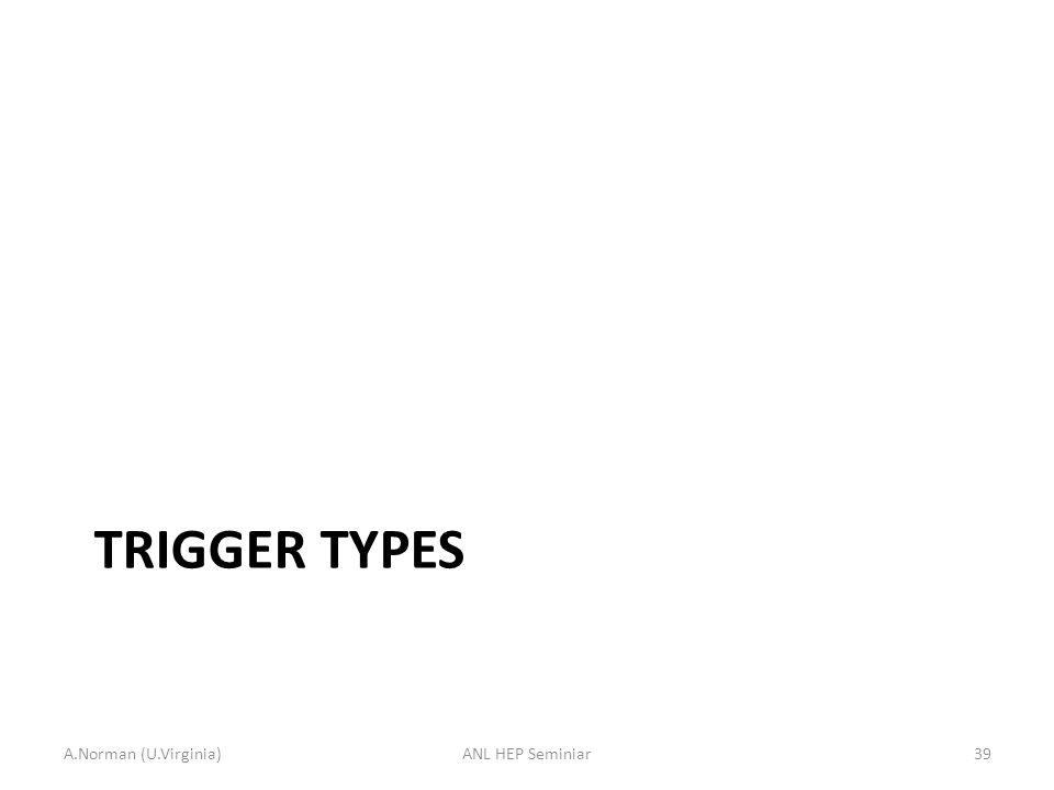 TRIGGER TYPES A.Norman (U.Virginia)ANL HEP Seminiar39