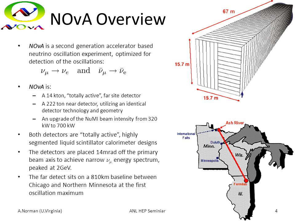 NOvA Overview NOvA NOvA is a second generation accelerator based neutrino oscillation experiment, optimized for detection of the oscillations: NOvA NO