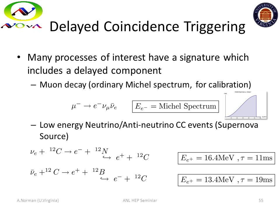 Delayed Coincidence Triggering Many processes of interest have a signature which includes a delayed component – Muon decay (ordinary Michel spectrum,