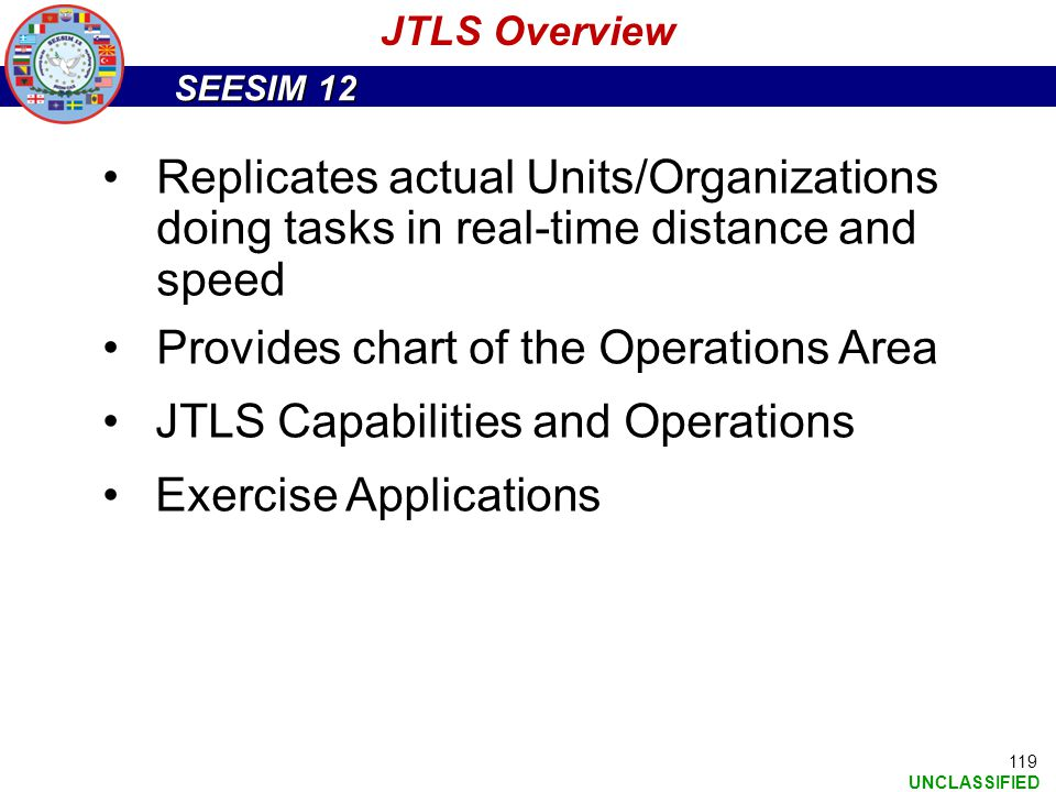 SEESIM 12 UNCLASSIFIED Replicates actual Units/Organizations doing tasks in real-time distance and speed Provides chart of the Operations Area JTLS Ca