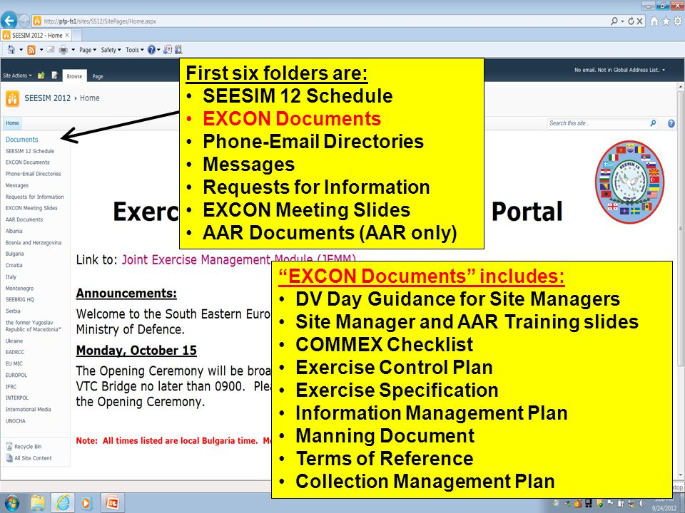 SEESIM 12 UNCLASSIFIED First six folders are: SEESIM 12 Schedule EXCON Documents Phone-Email Directories Messages Requests for Information EXCON Meeti