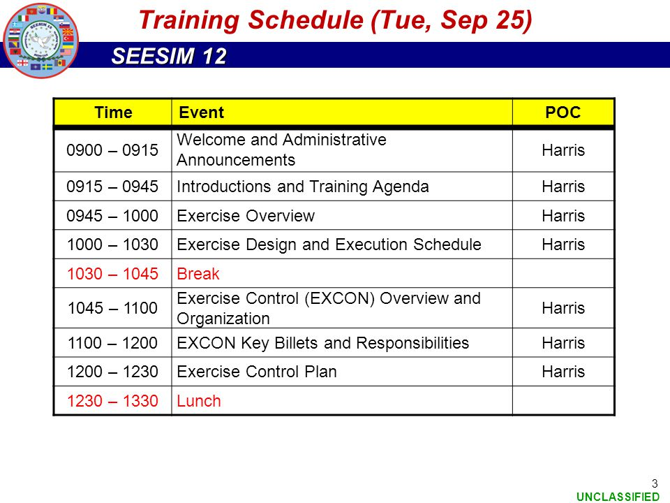 SEESIM 12 UNCLASSIFIED 3 TimeEventPOC 0900 – 0915 Welcome and Administrative Announcements Harris 0915 – 0945Introductions and Training AgendaHarris 0