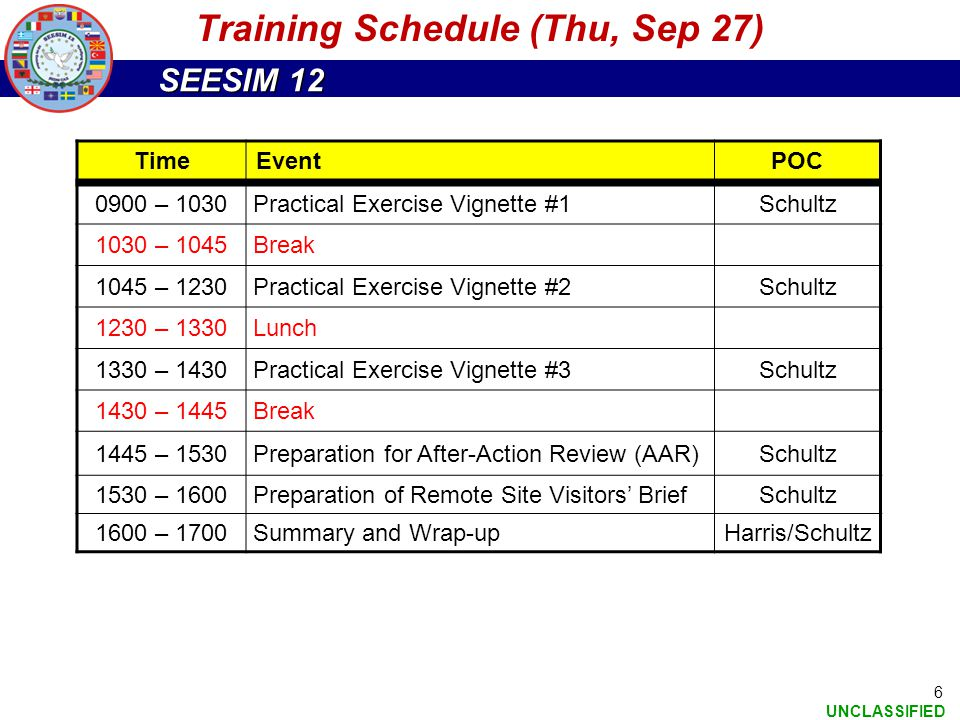 SEESIM 12 UNCLASSIFIED 6 TimeEventPOC 0900 – 1030Practical Exercise Vignette #1Schultz 1030 – 1045Break 1045 – 1230Practical Exercise Vignette #2Schul