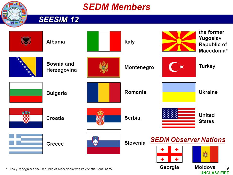 SEESIM 12 UNCLASSIFIED 9 SEDM Members Albania Bosnia and Herzegovina Bulgaria Croatia Greece Italy the former Yugoslav Republic of Macedonia* Turkey U
