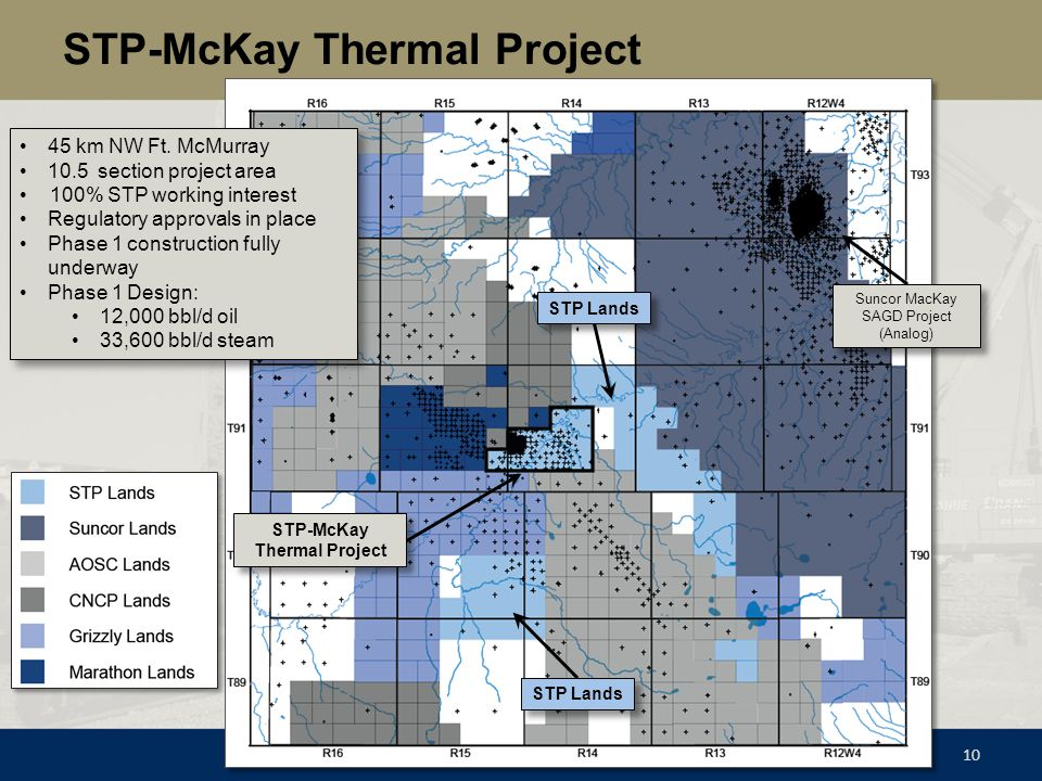 STP-McKay Thermal Project 10 STP-McKay Thermal Project STP Lands 45 km NW Ft. McMurray 10.5 section project area 100% STP working interest Regulatory