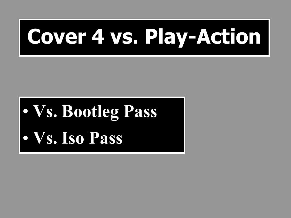 Cover 4 vs. Play-Action Vs. Bootleg Pass Vs. Iso Pass