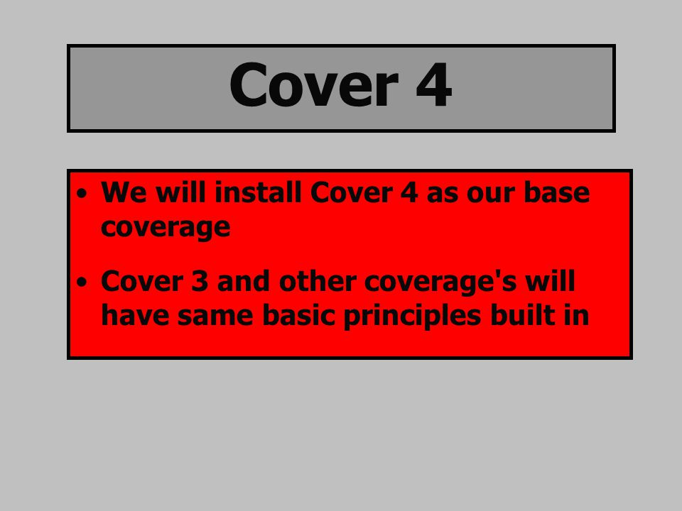 Cover 4 We will install Cover 4 as our base coverage Cover 3 and other coverage s will have same basic principles built in