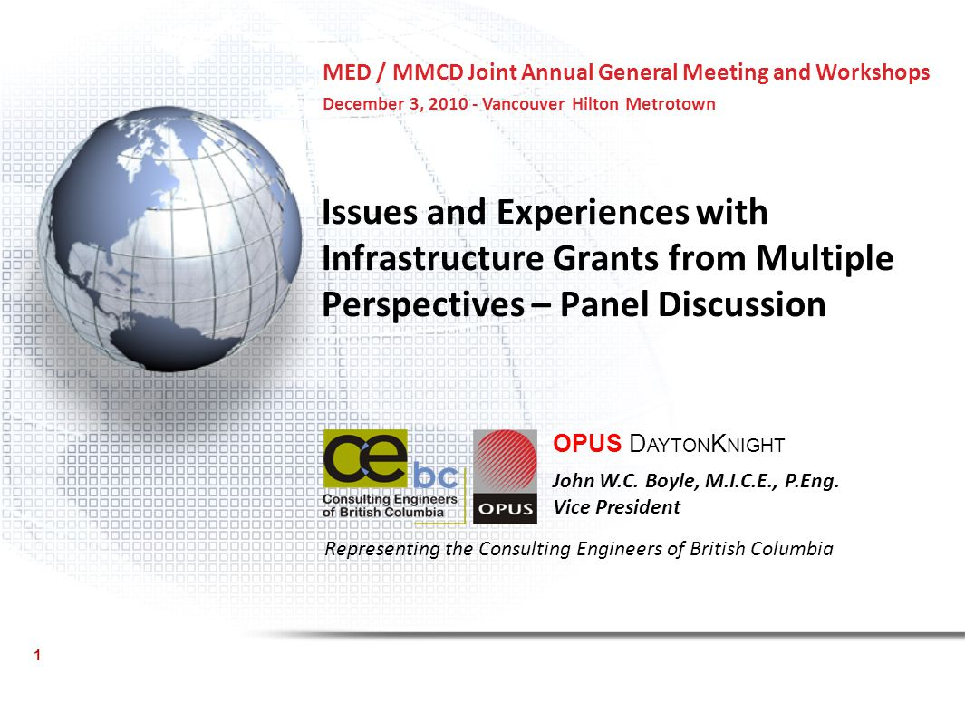 Issues and Experiences with Infrastructure Grants from Multiple Perspectives – Panel Discussion OPUS D AYTON K NIGHT John W.C.