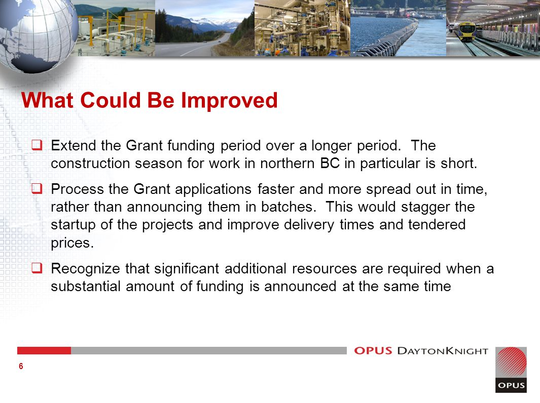 What Could Be Improved  Extend the Grant funding period over a longer period.