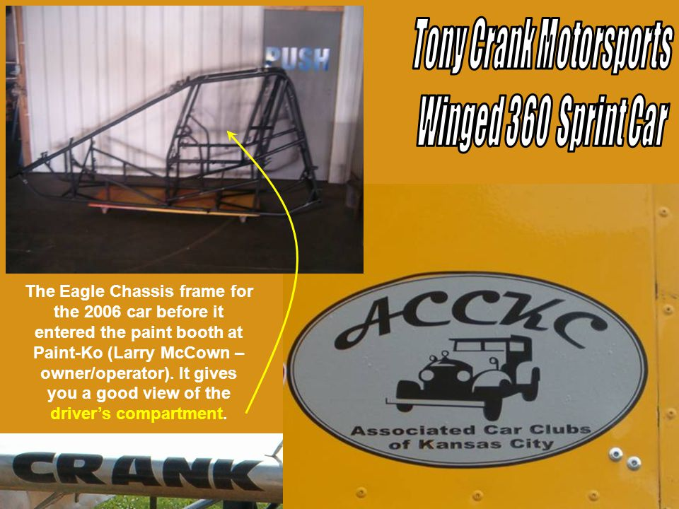 This shot of the frame for the 2006 car shows the down tubes on the roll cage viewed from the front of the car.